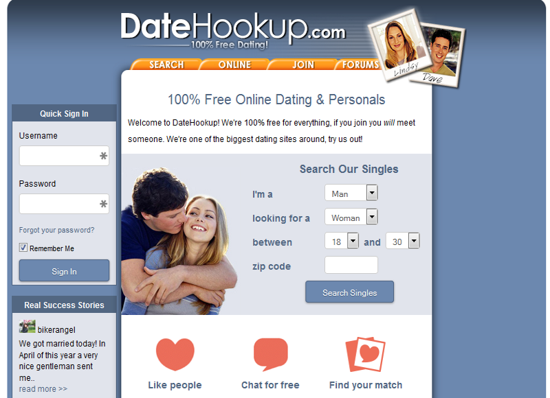 DateHookup Homepage 1